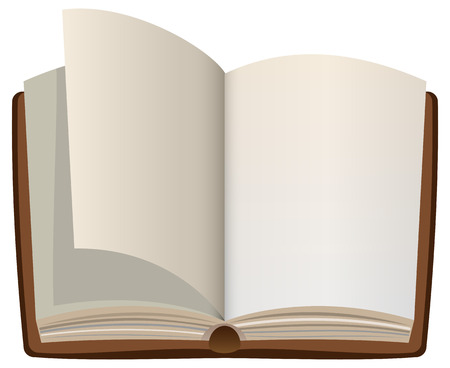 Open cartoon book with empty blank pages. Vector illustration