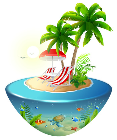 Secluded vacation on tropical island. Two chaise lounge, palm tree and underwater world. Isolated on white vector cartoon illustration