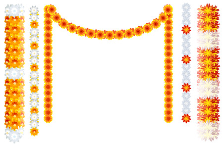 Indian orange flower garland mala frame isolated on white. Vector illustration Ilustração