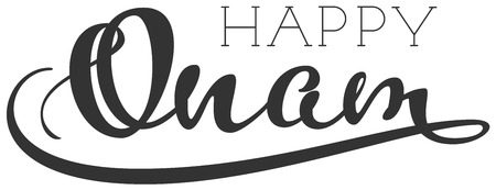 Happy onam indian religious holiday handwritten calligraphy text. Isolated on white vector illustration