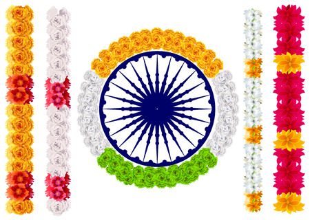 Indian flower garland mala. India flag and ashoka chakra. Isolated on white vector illustration