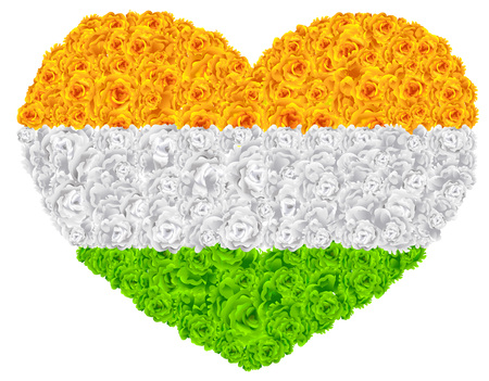 Flag India shape of heart flower garland mala. Isolated on white vector illustration