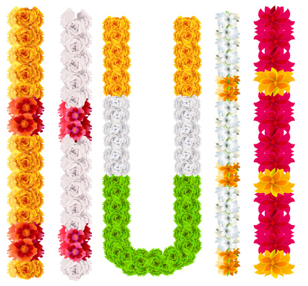 Set indian flower garland mala. Isolated on white vector illustration