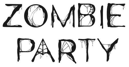Zombie Party spider web text for halloween holiday. Isolated on white vector illustration Çizim