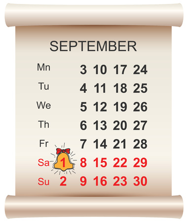 September 1 day of knowledge calendar and bell. First day of school. Vector illustration