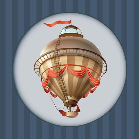 Balloon retro blimp ship with flag greeting card frame. Vector illustration Stok Fotoğraf - 112002799