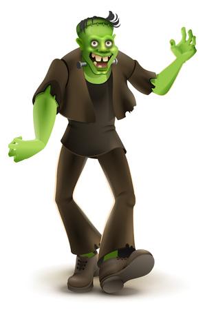 Green cartoon monster Frankenstein goes to Halloween party. Isolated on white vector illustration Vector Illustration
