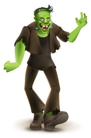 Green cartoon monster Frankenstein goes to Halloween party. Isolated on white vector illustration