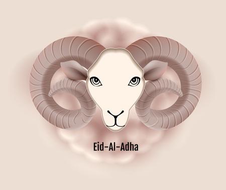 Eid al Adha text greeting card ram head of sheep. Feast of Sacrifice. Vector illustration