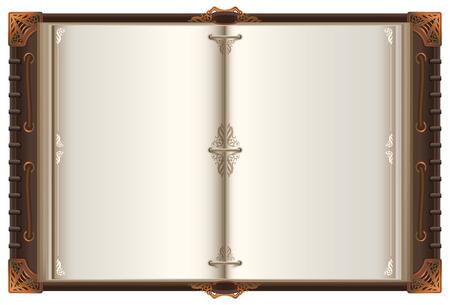 Maqueta de propagación de libro abierto antiguo vintage con páginas en blanco. Aislado en la ilustración de vector blanco