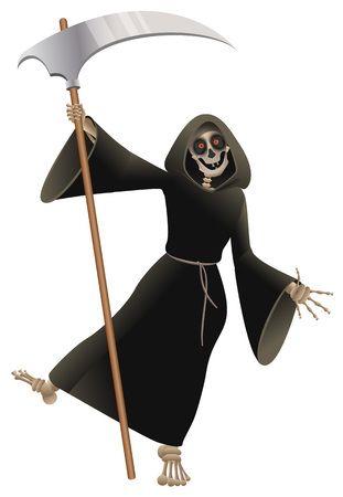 Death in black cloak with scythe dancing party Halloween. Isolated on white fun vector cartoon illustration