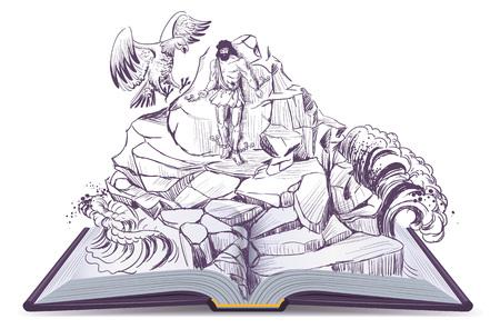 Open book illustration of legend of Prometheus eagle pecks liver. Vector isolated on white
