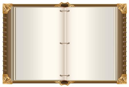 Libro magico aperto retrò modello con pagine vuote. Illustrazione vettoriale