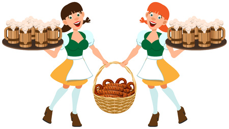 German beer festival Oktoberfest. Two German women hold tray of beer and basket of fried sausages. Isolated on white vector cartoon illustration