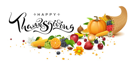 Happy Thanksgiving Day handwritten calligraphy text greeting card. Cornucopia harvest. Isolated on white vector illustration