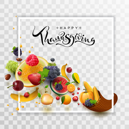 Happy Thanksgiving Day handwritten calligraphy text greeting card. Cornucopia harvest frame. Isolated on transparent vector illustration Foto de archivo - 110297892