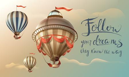 Siga sus sueños ellos conocen el camino. Frase cita texto escrito a mano y globos en el cielo. Ilustración de dibujos animados de vector
