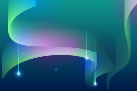 Northern lights night sky falling star abstract background. Vector illustration Stock Illustratie