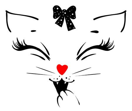 Het leuke hoofd van het kattenmeisje zegt miauw en behandelt zijn mond met zijn poot. Geïsoleerd op wit vector print illustratie Vector Illustratie