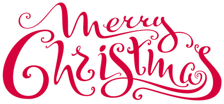 Merry Christmas ornate lettering text for greeting card. Isolated on white vector illustration