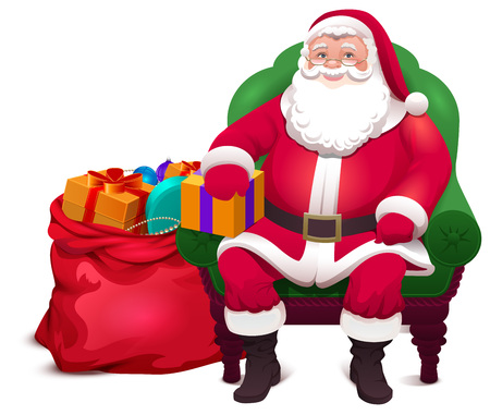 Santa Claus sit in chair and give bag gifts. Christmas vector cartoon illustration isolated on white