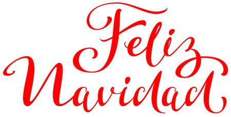 Feliz navidad text translation from spanish. Merry Christmas lettering greeting card. Isolated on white vector illustration Ilustração