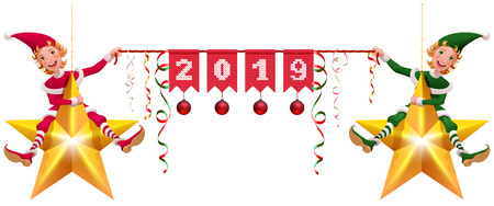 2019 year christmas decoration two elves holding banner. Isolated on white vector cartoon illustration