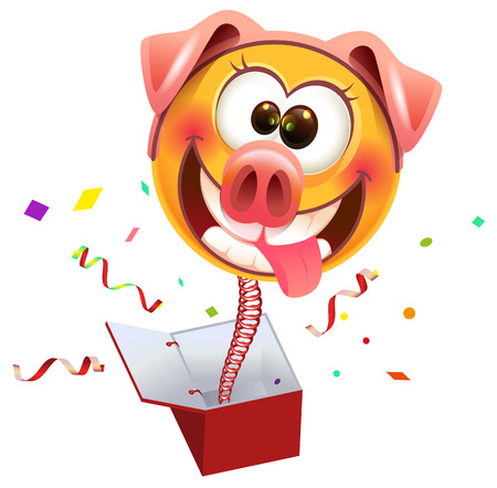 Yellow smile surprise masked pig jump out of box. Isolated on white vector cartoon illustration