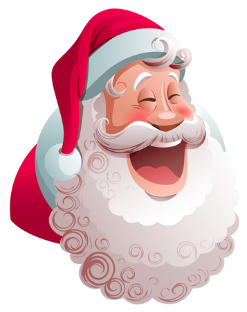 Santa Claus is smiling widely. Happy merry christmas character. Isolated on white vector cartoon illustration Ilustração