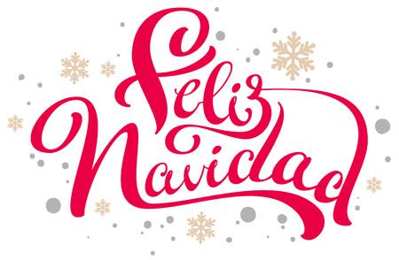 Feliz navidad text Merry Christmas translation from Spanish. Isolated on white vector illustration Ilustração