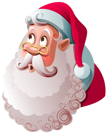 Santa Claus looks up in surprise. Merry christmas funny character. Isolated on white vector cartoon illustration Ilustração