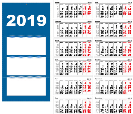 Quarterly wall Calendar for 2019 grid template horizontal. Vector illustration