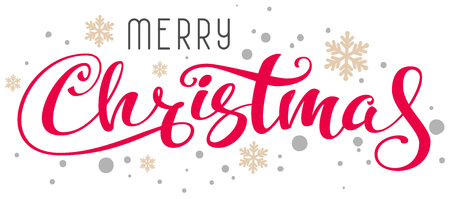 Merry Christmas handwritten calligraphy text and snowflakes. Isolated on white vector lettering illustration