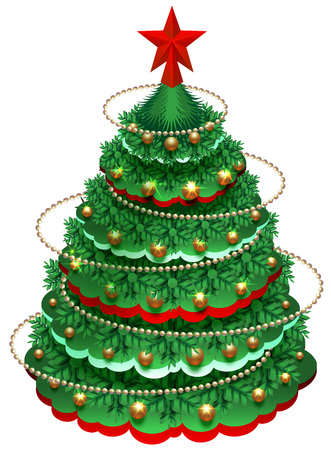 Festive Christmas pine tree with decorations and star. Isolated on white vector cartoon illustration Ilustração