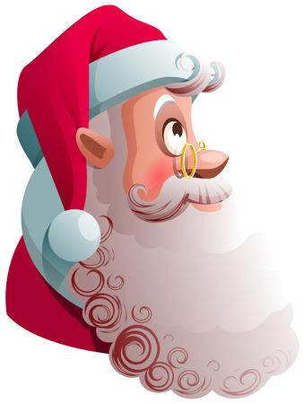 Santa Claus head profile view look up. Christmas cartoon illustration. Vector isolated on white Ilustração