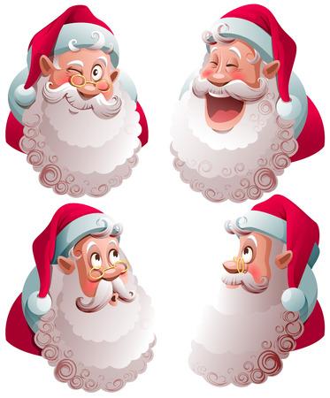 Santa Claus head set isolated vector illustration. Fun cartoon