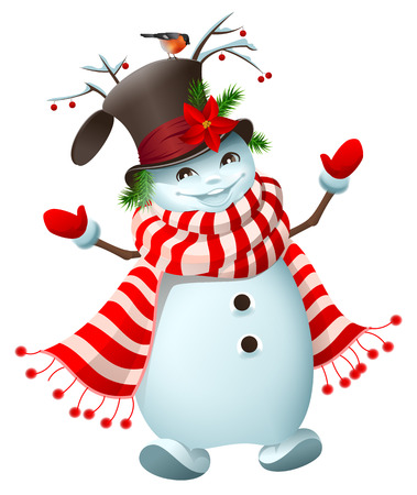 Funny Snowman welcomes New Year and Christmas. Isolated on white vector cartoon illustration