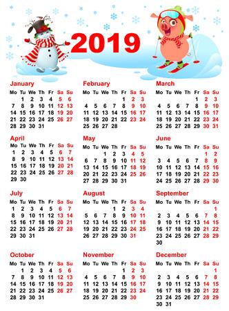 Calendar 2019 year grid pig skiing and snowman. Vector cartoon illustration Ilustração