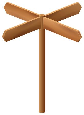 Wooden arrow pointer isolated on white background. Vector cartoon illustration