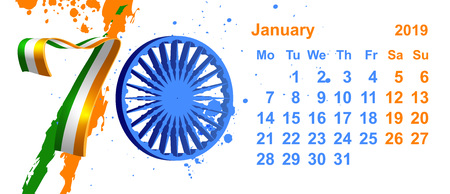 Republic Day India 70 year january calendar 26 data flag. Isolated on white vector illustration