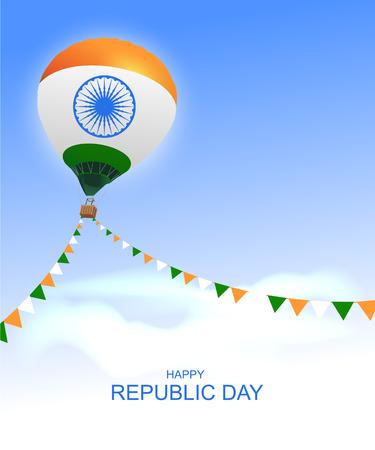 Happy republic day India greeting card air balloon. Vector illustration Ilustração