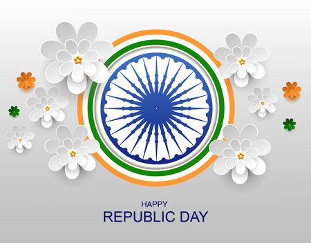 India Happy republic day greeting card paper flower. Vector illustration