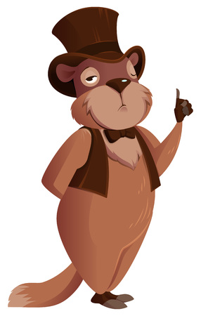 Groundhog Day. Groundhog stands and holds thumb up. Isolated on white vector cartoon illustration
