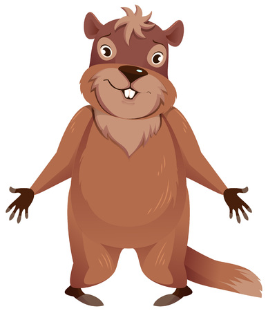 Groundhog Day. Funny groundhog spread his hands to sides. Isolated on white vector cartoon illustration Stock Illustratie