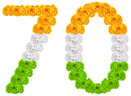 70 years anniversary republic day india. Number 70 of national flag tricolor flowers. Isolated on white vector symbol illustration