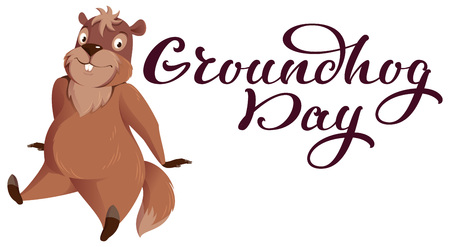 Groundhog Day hand written calligraphy text for greeting card. Funny groundhog sitting. Isolated on white vector cartoon illustration
