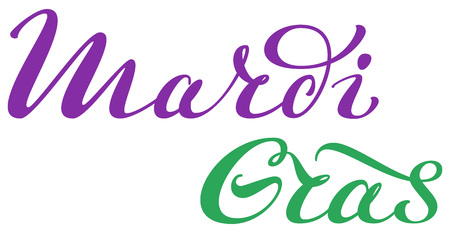 Mardi Gras Fat Tuesday carnival celebrations in New Orleans. Text lettering for greeting card. Isolated on white vector illustration Ilustração