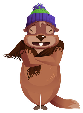 Groundhog day is cold. Groundhog frozen winter weather forecast. Isolated on white vector cartoon illustration