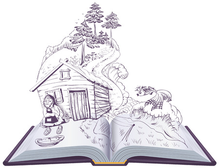 Pushkin tale of fisherman and golden fish. Open book illustration. Vector cartoon isolated on white Ilustração