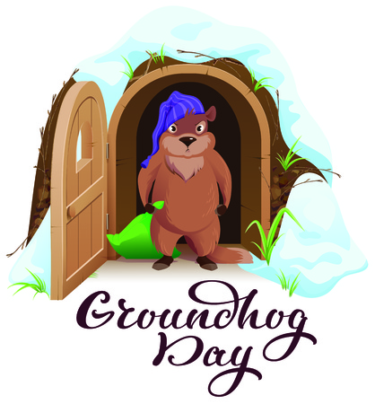Groundhog day. An angry woodchuck left house and open door. Isolated on white vector cartoon illustration greeting card Ilustração